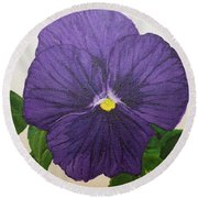 Purple Pansy Round Beach Towel by Wendy Shoults