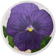 Purple Pansy Round Beach Towel
