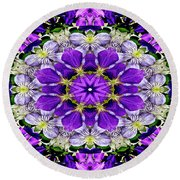 Purple Passion Floral Design Round Beach Towel