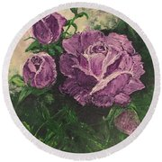 Purple Passion Round Beach Towel by Lucia Grilletto