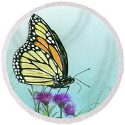 Round Beach Towel featuring the painting Purple Passion by Mike Brown