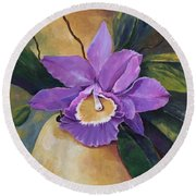 Purple Passion Orchid Round Beach Towel