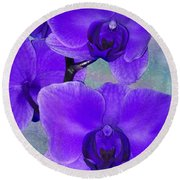 Purple Passion Orchid Round Beach Towel by Kathy M Krause