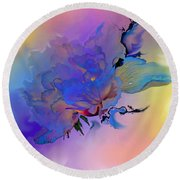 Round Beach Towel featuring the painting Purple Passion Peony by Hanne Lore Koehler