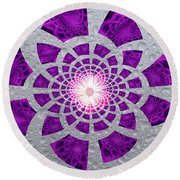 Purple Patched Round Beach Towel