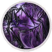 Round Beach Towel featuring the mixed media Purple Pedals by Angela Stout