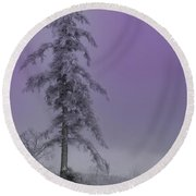 Purple Pine Round Beach Towel