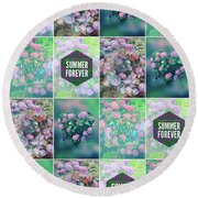 Purple Pink Hydrangea Geometric Patchwork Quilt Round Beach Towel