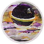 Purple Planet Round Beach Towel