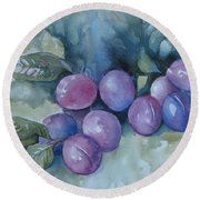 Purple Plums Round Beach Towel