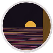 Purple Pond Reflections Round Beach Towel