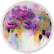 Purple Poppy Passion Painting Round Beach Towel