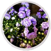 Round Beach Towel featuring the photograph Purple Pretties by Beth Saffer