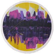 Purple Reflections Round Beach Towel
