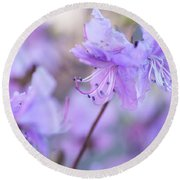 Round Beach Towel featuring the photograph Purple Rhododendron 1. Spring Watercolors by Jenny Rainbow