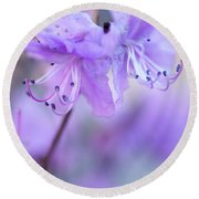 Round Beach Towel featuring the photograph Purple Rhododendron. Spring Watercolors by Jenny Rainbow