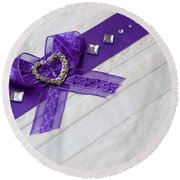 Purple Ribbon Heart Round Beach Towel