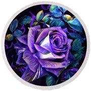 Purple Rose Bud Painting Round Beach Towel