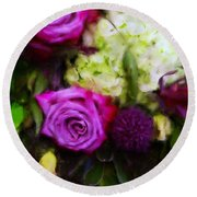 Purple Roses With Hydrangea Round Beach Towel