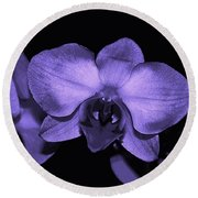 Purple Shades Of Orchids Round Beach Towel