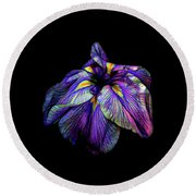Purple Siberian Iris Flower Neon Abstract Round Beach Towel