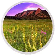 Purple Skies And Wildflowers Round Beach Towel