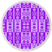 Purple Skull And Crossbones Pattern Round Beach Towel