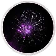 Purple Sparkle In The Sky Round Beach Towel