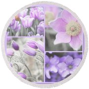 Round Beach Towel featuring the photograph Purple Spring Bloom Collage. Shabby Chic Collection by Jenny Rainbow