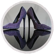 Purple Stiletto Shoes Round Beach Towel by Terri Waters
