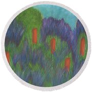 Purple Strife And Cattails Round Beach Towel