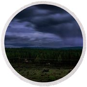Round Beach Towel featuring the photograph Purple Strikes by Cat Connor
