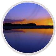 Purple Sunrise Round Beach Towel by Trena Mara