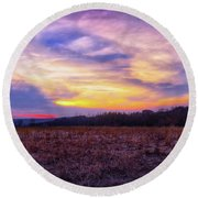 Round Beach Towel featuring the photograph Purple Sunset At Retzer Nature Center by Jennifer Rondinelli Reilly - Fine Art Photography