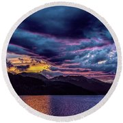 Purple Sunset At Summit Cove Round Beach Towel