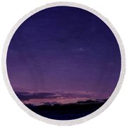 Purple Sunset Over Beach  Round Beach Towel