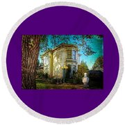 House With The Purple Swing Round Beach Towel