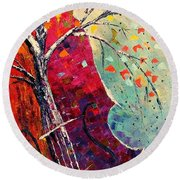 Round Beach Towel featuring the painting Purple Symphony by AmaS Art