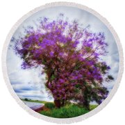 Purple Tree  ... Round Beach Towel
