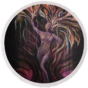 Purple Tree Goddess Round Beach Towel