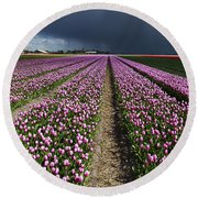 Purple Tulips Field Round Beach Towel by Mihaela Pater