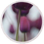 Purple Tulips Abstract Round Beach Towel