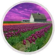 Purple Tulips With Pink Sky Round Beach Towel