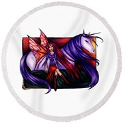 Purple Unicorn With Fairy Friend Round Beach Towel