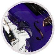 Purple Violin And Music V Round Beach Towel