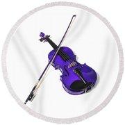 Purple Violin Round Beach Towel