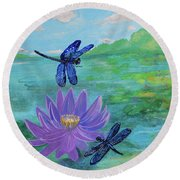 Purple Water Lily And Dragonflies Round Beach Towel