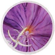 Purple Watercolor Flower Close Up Round Beach Towel