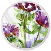 Round Beach Towel featuring the painting Purple Wildflowers by Dawn Derman