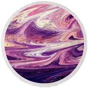 Purple Wind Abstract  Round Beach Towel